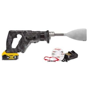 PWR2029 Equalizer® BlackHawk™ Power Cut Out Tool shown with blade, safety glasses, battery charger and instructional DVD BH2019